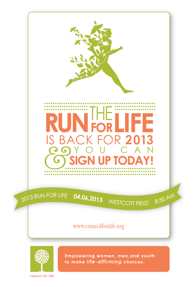 Council for Life 5K with picture of green runner