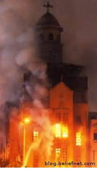 picture of a Christian church burning in Egypt