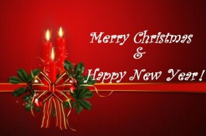 Merry Christmas and Happy New Year wreath and candles