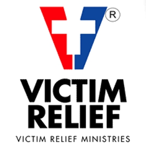 Victim Relief Ministries red and blue banner